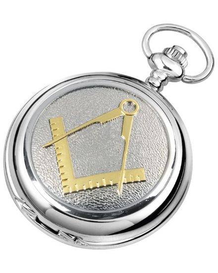 Fancy 'Masonic' Quartz Pocket Watch with Chain